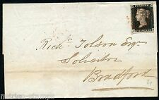 GREAT BRITAIN PENNY BLACK ON FL MANCHESTER NOVEMBER 10, 1840 TO BRADFORD SHOWN