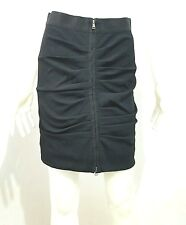 DOLCE GABBANNA RUCHED ZIP DETAIL BLACK SKIRT SIZE 40