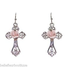 1928 Jewelry Porcelain Pink Rose Cross Earrings *Made in USA*