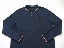 POLO RALPH LAUREN Men's Navy Relaxed-Fit Long-Sleeved Big Pony Mesh Polo XL