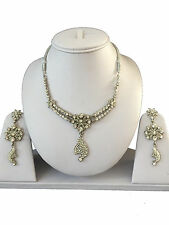 SILVER WHITE INDIAN COSTUME JEWELLERY NECKLACE EARRINGS PEARLS SET NEW BRIDAL