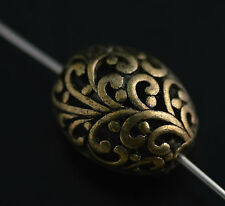 Lots 10Pcs Tibet Bronze Hollow Out Loose Bead Spacer Charms Finding 21*17mm