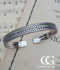 Men's Sterling Silver Herringbone Cuff Bangle