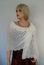 Hand Knitted Kid Mohair Wedding Shawl Wrap Ivory or White colour, made to order