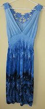 Ladies Blue Summer Dress with Floral Embroidery~Size 10