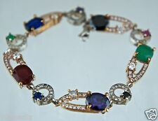 GOLD & SILVER TONE,GREEN,PURPLE,RED,RHINESTONE LINK BRACELET VICTORIAN STYLE
