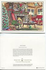 1 VINTAGE CHRISTMAS LOG CABIN DUCKS DECOY HUNTING CABIN TOBBACIANA PIPE ART CARD