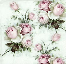 4x Single Table Party Paper Napkins for Decoupage Craft Vintage, Rose Bouquet