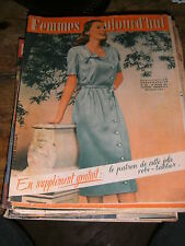 Femmes d'aujourd'hui N° 325 1951 Mode vintage  patrons Couture Broderie Robe