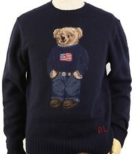 Polo Ralph Lauren Polo Bear Intarsia Knit Large Navy Sweater MSRP $265