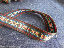 BTY Vintage Hippie Fabric Trim Retro Mod Tribal Black Blue Yellow 1in Wide