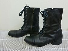 Steve Madden TROOPA Women's Black Leather Side Zip Lace Up Combat BOOTS Sz 7.5 M