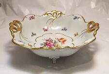 Vintage JLMENAU Porcelain Double Handled Footed Basket with Gold Gilding & Roses