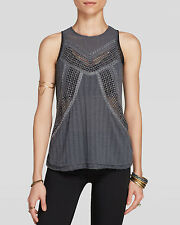 Free People Get The Point Trinity Tank Mesh Inset Beaded Top NWT$98 - Medium