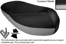 LIGHT GREY & BLACK CUSTOM FITS MALAGUTI CIAK 50 DUAL LEATHER SEAT COVER ONLY