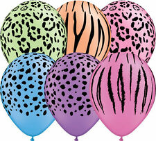Safari Adventure Neon 5 Latex Balloons Qualatex Animal Print Helium Air