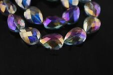 10ps Purple Colorized Glass Crystal Faceted Teardrop Beads 18mm Spacer Findings