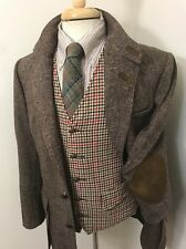 Vtg NORFOLK Wool Tweed BELTED Blazer 38 to 40 R ~ jacket ELBOW PATCHES Chinstrap