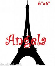 Eiffel tower Paris with name Decal sticker for Your Glass Block Shadow Box