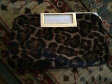 New  Michael Kors Berkley Leopard Haircalf Large Clutch