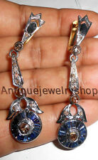 Antique Rose Cut Diamond 2.08ct Silver Sapphire Dangle Victorian Look Earrings