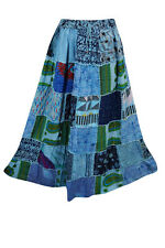 BOHO GYPSY PATCHWORK MAXI SKIRT VINTAGE BLUE HIPPIE CHIC ETHNIC LONG SKIRTS