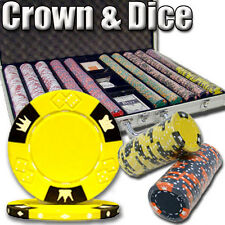 New 1000 Crown & Dice 14g Clay Poker Chips Set with Aluminum Case - Pick Chips!