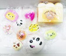 10Pcs Jumbo Toast+Medium Panda+Mini Squishy Hello Kitty Donut Bread Cell Straps