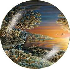 Terry Redlin SUNSET RETREATCollector Plate Cabin, Fishing, Dogs and Ducks