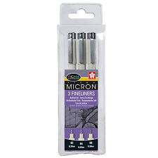 Sakura Pigma Micron - Fineliner Archival Drawing Pens - Black Ink - Set of 3
