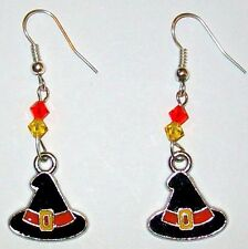 HALLOWEEN EARRINGS-WITCH HATS-SWAROVSKI  BEADS-BLACK/ORANGE/ YELLOW -HANDMADE