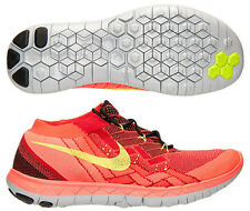 "New Mens 11 NIKE ""Free 3.0 Flyknit"" Black Volt Red Crimson Shoes $140 718418-006"