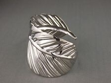 "shiny Silver tone leaf feather pattern metal bangle cuff 2"" wide bracelet"
