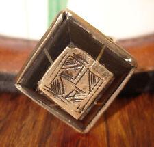 Men's Niger  Tuareg ebony large hand engraved square chunky ring UKR1/2