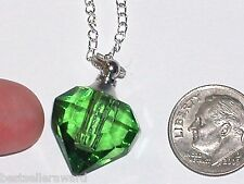 1 Glass Heart pendant cremation ashes perfume bottle Screw cap Necklace Green
