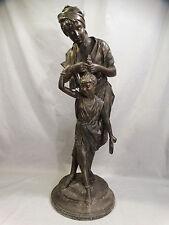 LG. 19thC Antique ART NOUVEAU BRONZED LADY & CHILD Old PARLOR Sculpture STATUE