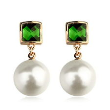 Rose Gold Filled Emerald Green Swarovski Crystal White Pearl Dangle Earring XE70