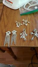 3 sets VINTAGE RHINESTONE COSTUME JEWELRY CLIP ON EARRINGS