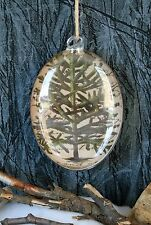 POTTERY BARN DECOUPAGE TREE GLASS ORNAMENT -NIB- JUST WHAT YOU NEED FIR NOEL!