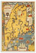 "Large Picture Art Print MAP of New England State of MAINE USA circa 1938 24""x36"""