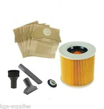TOOL KIT FILTER & DUST hoover BAGS for KARCHER WD2200 Wet & Dry Vacuum Cleaner
