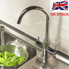 Twin Lever Swivel Spout Modern Kitchen Sink Basin Mixer Tap Chrome Brass in UK