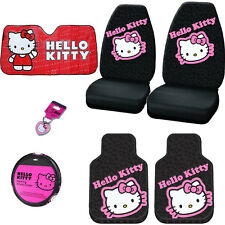 7PC CAR HELLO KITTY SEAT STEERING COVERS MATS AND ACCESORIES SET FOR NISSAN