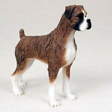 BOXER Dog HAND PAINTED FIGURINE Resin Statue Collectible UNCROPPED BRINDLE Puppy