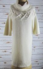 THEORY Ivory Cashmere Wool Short Sleeve Tunic Cowl Neck Sweater Dress Medium M