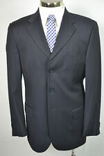 (40L) Gino Sartore Men's Navy Blue Pinstripe Italian Pleated Front 2 Piece Suit