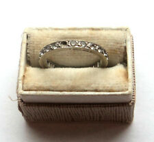 Vintage 9ct WHITE GOLD & DIAMOND? Eternity Ring SIZE L Repair or Scrap 2.25g