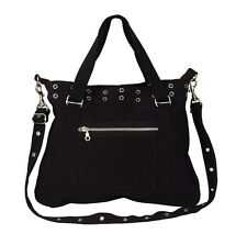 WOMENS GIRLS BLACK CANVAS PISTOL BELT HANDBAG PURSE POCKETBOOK GOTH DARK LOOK
