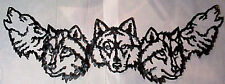 5 WOLF HEADS METAL WALL DESIGN 38 INCH LONG SILVER & BLACK COLORING