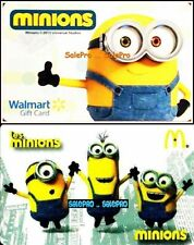 2x McDONALD & WALMART 2015 MINIONS ANIMATION RARE COLLECTIBLE GIFT CARD LOT